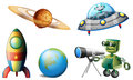 Spaceships and robots illustration of the on a white background Royalty Free Stock Photo