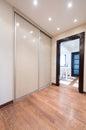 Spacious anteroom interior with modern sliding closet door Royalty Free Stock Photo