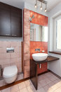 Spacious apartment bathroom interior of modern with vessel sink Royalty Free Stock Photos