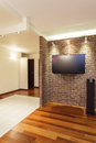 Spacious apartment brick wall in modern house Stock Photo