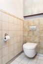 Spacious apartment toilet bathroom patterned tiles Royalty Free Stock Photography