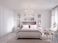 Spacious and Bright Modern Contemporary Classic Bedroom Royalty Free Stock Photo