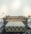 Spacious living room with huge sofa in a luxury house Royalty Free Stock Photo