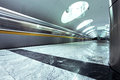 Spacious public metro marble station Stock Photo