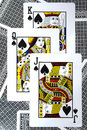 The spade playing card with three cards Royalty Free Stock Images