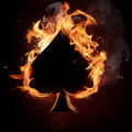 Spades Card in Fire. Royalty Free Stock Images