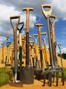 Spades and forks at hampton court flower show Stock Photos