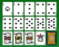 Spades suite playing cards joker and back green background Royalty Free Stock Image