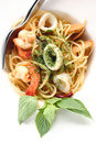 Spagetti spicy seafood get a tantalizing taste Royalty Free Stock Photos