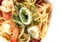 Spagetti spicy seafood get a tantalizing taste Stock Images
