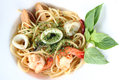 Spagetti spicy seafood get a tantalizing taste Stock Photography