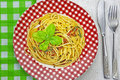 Spaghetti al Pesto Royalty Free Stock Photography