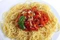 Spaghetti al Pomodoro closeup Royalty Free Stock Photography