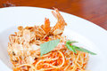 Spaghetti Almond shrimp Stock Image