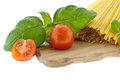 Spaghetti with basil and tomato Stock Photo