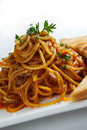 Spaghetti with basil on top Royalty Free Stock Photo