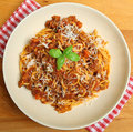 Spaghetti bolognaise with parmesan cheese taditional bolognese grated Stock Photos