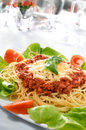 Spaghetti bolognese with basil leaf Stock Photo