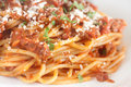 Spaghetti bolognese the closeup on a plate Royalty Free Stock Image