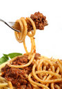 Spaghetti bolognese on a fork Stock Photos