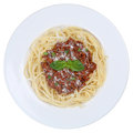 Spaghetti bolognese noodles pasta meal isolated or bolognaise on a plate Royalty Free Stock Images