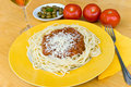Spaghetti bolognese with parmesan cheese Stock Photo