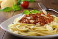 Spaghetti bolognese with parmesan cheese and minced meat Royalty Free Stock Images