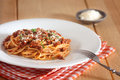 Spaghetti bolognese with red napkin Stock Photo