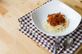 Spaghetti bolognese on white dish Royalty Free Stock Photo