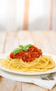 Spaghetti Bolognese on white plate Royalty Free Stock Photo