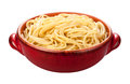 Spaghetti bowl isolated in a red on a white background with a clipping mask Royalty Free Stock Photography