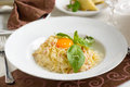 Spaghetti carbonara classic on decorated table Royalty Free Stock Photos