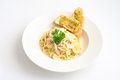 Spaghetti Carbonara with Garlic Bread Royalty Free Stock Photo