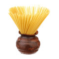Spaghetti ceramic pot over white background Royalty Free Stock Photo