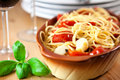 Spaghetti with cherry tomatoes and garlic Stock Photography