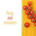 Spaghetti and cherry tomatoes on a napkin isolated white Stock Photo