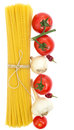 Spaghetti, cherry tomatoes, onions, garlic Stock Photos