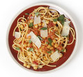 Spaghetti and chickpeas from above Royalty Free Stock Image