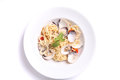 Spaghetti with clam in close up Stock Photos