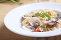 Spaghetti with clam in close up Royalty Free Stock Images