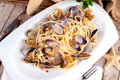 Spaghetti with clams recipe plate of typical of the mediterranean cuisine Stock Images