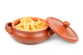 Spaghetti in a clay pot Royalty Free Stock Photography