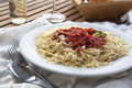 Spaghetti dinner lunch or with and tomato sauce and grated cheese Stock Photos