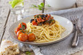 Spaghetti dish with vegetables