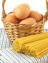 Spaghetti and eggs, closeup Royalty Free Stock Photo