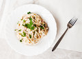 Spaghetti fettuccine carbonara white bowl garnished bacon mushrooms parsley delicious creamy sauce Royalty Free Stock Photos