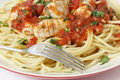 Spaghetti fish fork and arrabbiata sauce fresh in served on with a sprinked with a parsely garnish closeup Royalty Free Stock Images
