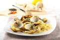Spaghetti with fresh clams, garlic and parsley Stock Photography