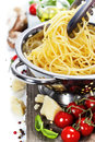 Spaghetti freshly made with italian ingredients Royalty Free Stock Photography