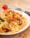 Spaghetti with fried eggplant and tomatoe tomatoes sweet sour sauce Royalty Free Stock Photos
